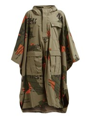 Maharishi Logo Print Hooded Coat Khaki