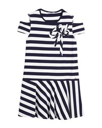 Mayoral Cold Shoulder Stripe Dress Navy