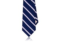 Fairfax Men's Striped Silk Necktie Navy Light Purple White