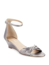 424 Fifth Chandra Metallic Leather Wedge Sandals Grey