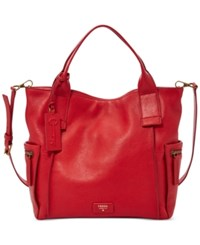 Fossil Emerson Leather Satchel Real Red