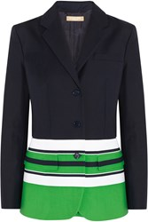 Michael Kors Striped Cotton Blend Blazer Green
