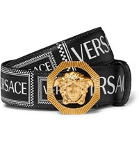 Versace 3.5Cm Logo Print Textured Leather Belt Black