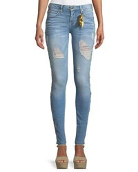 Robin's Jeans Marilyn Distressed Skinny Leg With Beaded Embellishments Blue