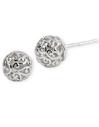 Lord And Taylor Sterling Silver Lace Ball Earrings
