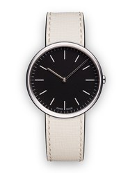 Uniform Wares M35 Women's Two Hand Watch In Polished Steel With Mist Textured Calf Black