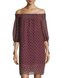 Max Studio Geometric Print Off The Shoulder Smocked Dress Wine