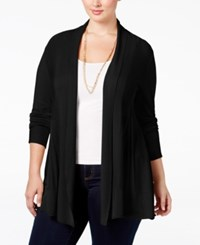 Ny Collection Plus Size Open Front Textured Cardigan Black