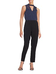 Bcbgeneration Bean Printed Sheer Jumpsuit Navy Combo