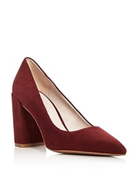 Kenneth Cole Margaux Pointed Toe Block Heel Pumps Brick