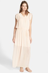See By Chloe Pleated Chiffon Maxi Dress Pink Champagne