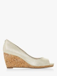 Dune Caydence Peep Toe Cork Wedge Court Shoes Silver Canvas