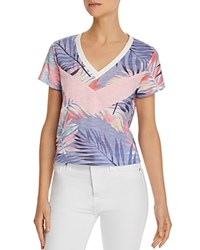 Honey Punch Color Block Palm Print Tee Tropical