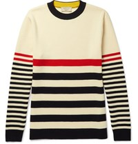 Maison Kitsune Striped Knitted Wool Sweater Neutral
