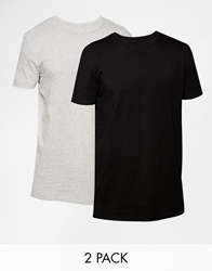Asos Longline T Shirt With Crew Neck And Relaxed Skater Fit 2 Pack Save 17 Blackgrey