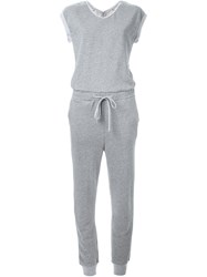 Loveless Drawstring Jersey Jumpsuit Grey
