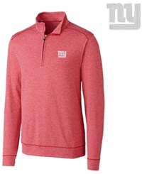 Cutter And Buck Men's New York Giants Shoreline Quarter Zip Pullover Red