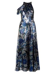 Christopher Kane Rose Print Lame Draped Gown Blue Multi