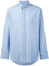 Etro Long Sleeved Shirt Men Cotton Linen Flax M Blue