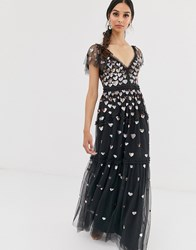 Needle And Thread Love Heart Maxi Dress In Black