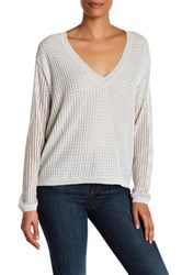Brochu Walker Estelle V Neck Linen Blend Sweater Gray