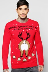 Boohoo Animal Emoji Christmas Jumper Red