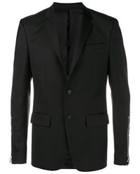 Givenchy Tailored Wool Blend Jacket Black Silver White Indigo
