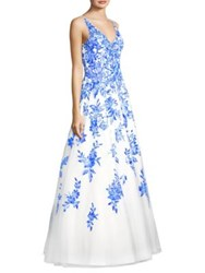 Basix Black Label Floral Chiffon Floor Length Gown White Navy