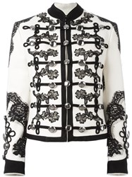 Dolce And Gabbana Floral Embroidered Military Jacket White