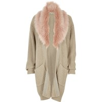 River Island Womens Beige Faux Fur Trim Cardigan