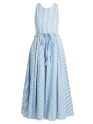 Gul Hurgel Striped Sleeveless Cotton And Linen Blend Dress Blue