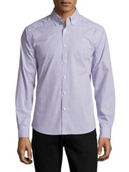 Black Brown Slim Fit Checked Button Down Shirt Light Violet