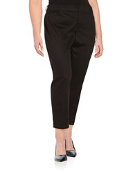 Lord And Taylor Plus Cropped Stretch Pique Pants Black