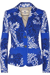 Etro Printed Cotton Blend Twill Blazer Blue