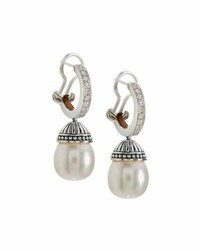 Lagos Luna Pave Diamond And Pearl Drop Earrings White