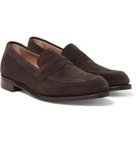 Cheaney Hadley Suede Penny Loafers Brown