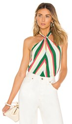 Line And Dot Olympia Halter Top In Green. Multi