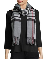 Lord And Taylor Plaid Blanket Wrap Scarf Grey