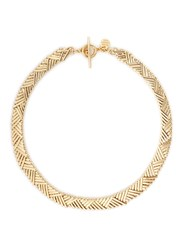 Philippe Audibert 'Natte' Chevron Bar Chain Necklace Metallic