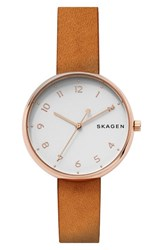 Skagen Women's Signatur Leather Strap Watch 36Mm Brown White Rose Gold