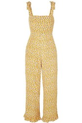 Faithfull The Brand Frankie Ruffled Shirred Floral Print Crepe Jumpsuit Yellow