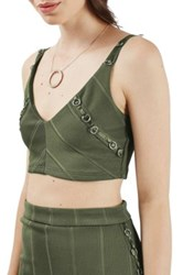 Topshop Ring Bandage Plunge Crop Top Green