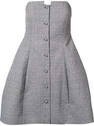 Rosie Assoulin Buttoned Strapless Dress Grey