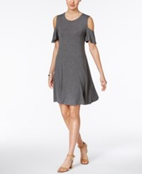 Style And Co Cold Shoulder Flutter Sleeve Dress Only At Macy's Steel Grey Heather