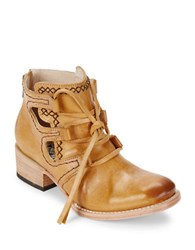 Freebird Lace Up Leather Ankle Boots Camel