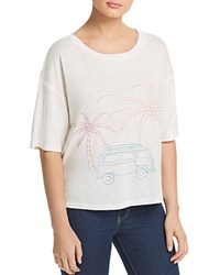 Honey Punch Embroidered Palm Tee White
