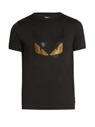 Fendi Bag Bugs Embellished Cotton Jersey T Shirt Black