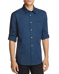 John Varvatos Plaid Roll Sleeve Slim Fit Button Down Shirt Oiled Blue