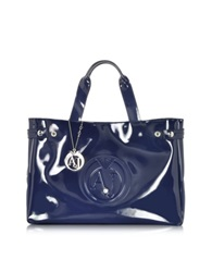 Armani Jeans Large Faux Patent Leather Tote