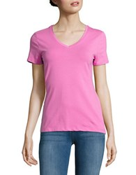 Lord And Taylor Solid V Neck T Shirt Berry Pink